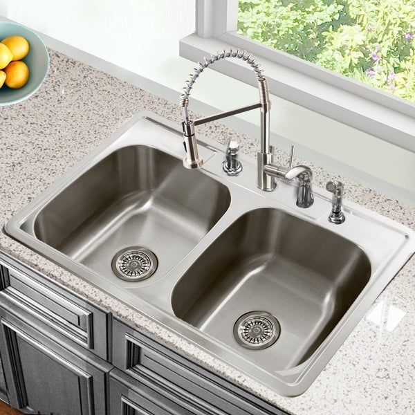 33 Inch Drop In Stainless Steel Double Bowl Kitchen Sink 33 X 22 X 8 Inches In 2020 With Images Drop In Kitchen Sink Stainless Steel Double Bowl Kitchen Sink Sink