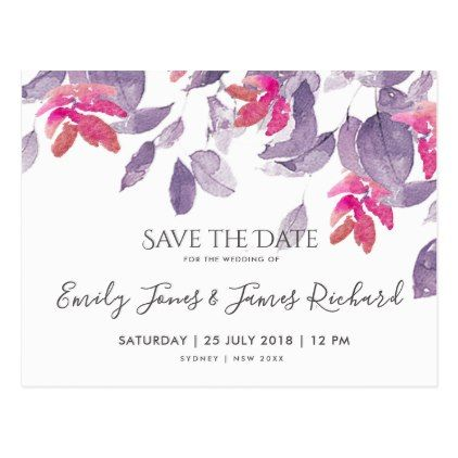 BRIGHT PINK PURPLE WATERCOLOR FLORAL SAVE THE DATE POSTCARD - watercolor gifts style unique ideas diy