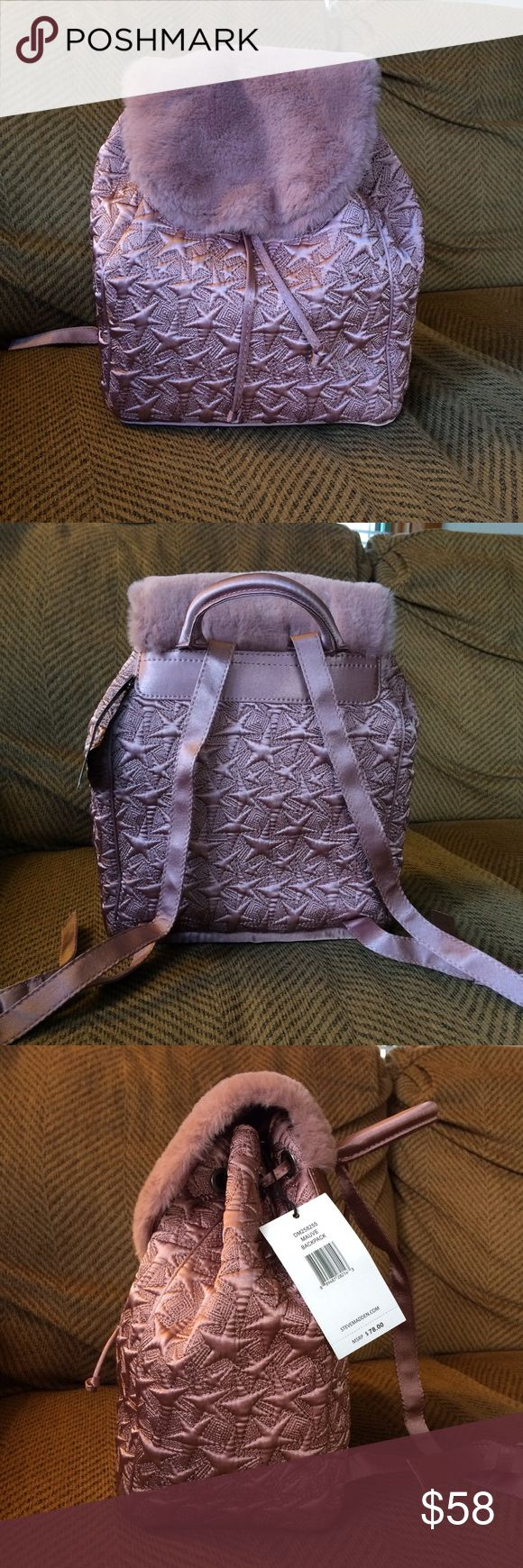Mauve Mixed Fabric Steve Madden Backpack NWT. No obvious tears or knicks. Nice interior pattern. Super soft as well. OBO Steve Madden Bags Backpacks