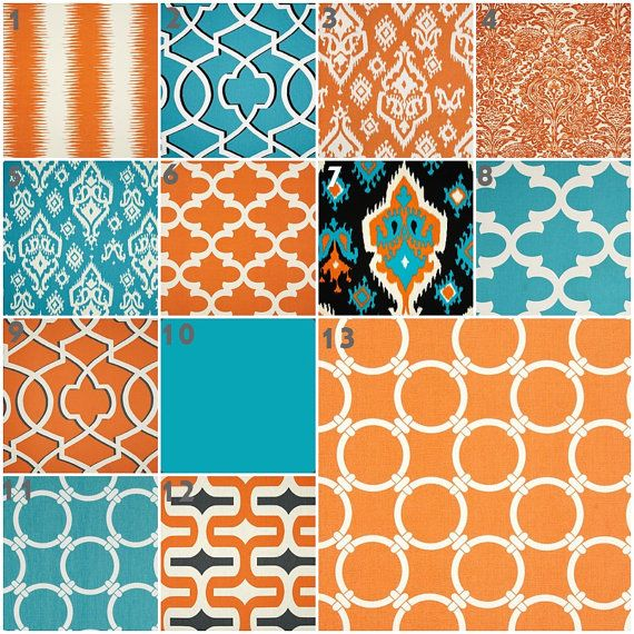 Modern Turquoise and Orange, Baby Bedding, Crib Set, Crib Bedding, Turquoise Aqua Teal Blue Orange Nursery