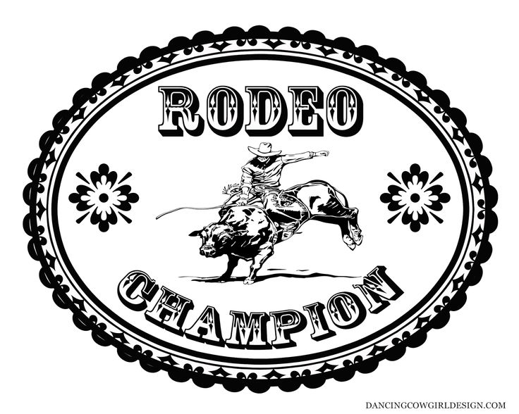 Coloring Sheet Cowboy Rodeo Bull Rider Belt Buckle