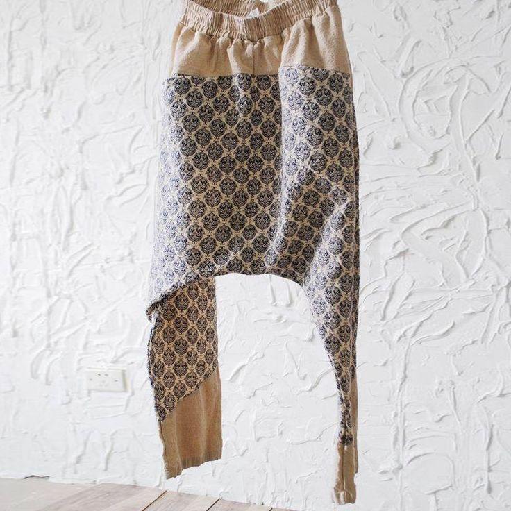 Брюки : Комбинированные брюки-алладины на резинке