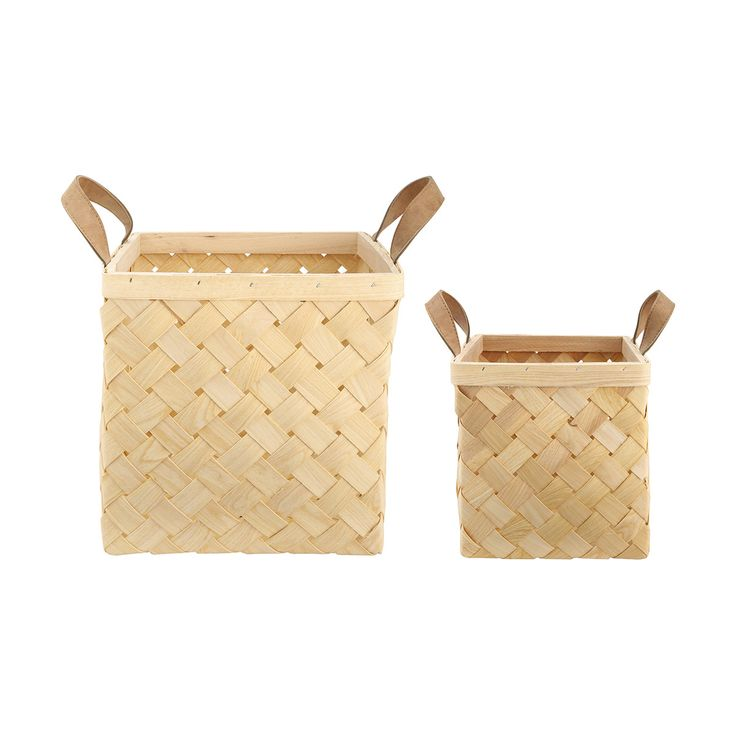 Set of 2 Wooden Baskets | Kmart