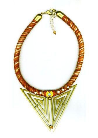 BROWN KNIT CORD NECKLACE WITH BRASS