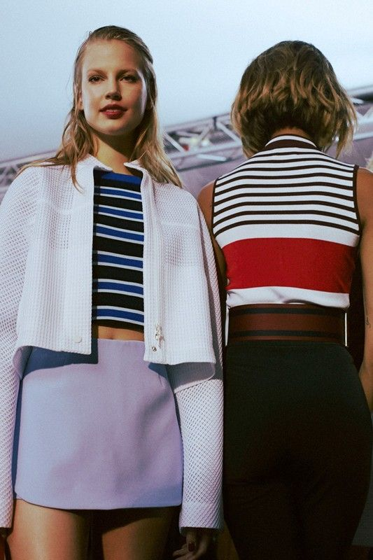 Preppy stripes and waffle knit jackets backstage at Topshop Unique SS15 LFW. More images here: http://www.dazeddigital.com/fashion/article/21677/1/topshop-unique-ss15-live-stream