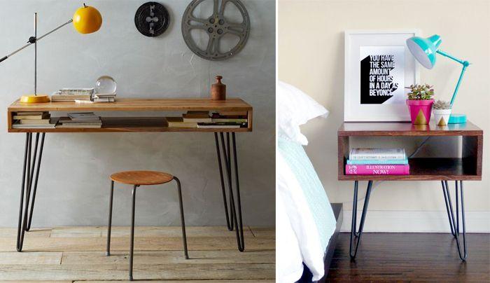 Esprit vintage pour ce bureau et cette table de nuit aux for Meuble bureau jambes