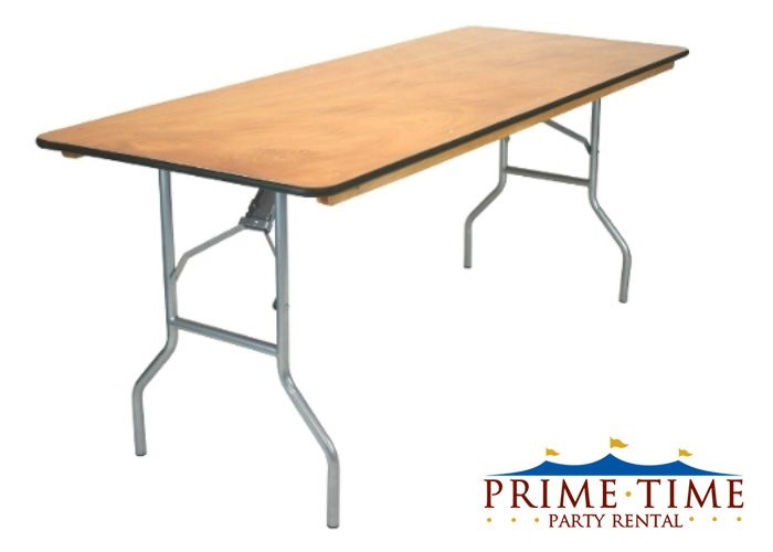 Tables  6 or 8 Foot Wood Banquet Tables - Prime Time Party Rental -
