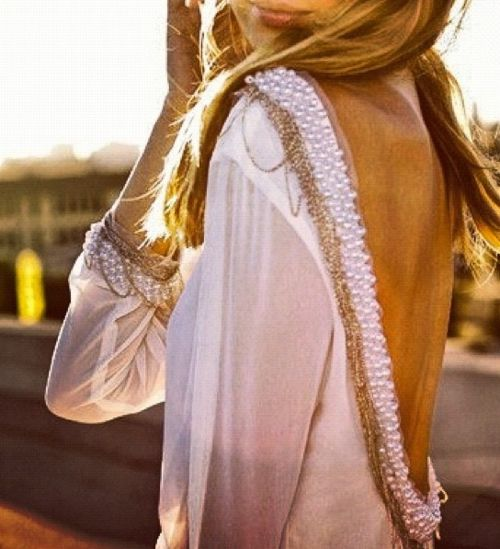 need it: Fashion, Backless Dresses, Style, Shirts, Pearls, Beads, The Dresses, Open Back, Back Details