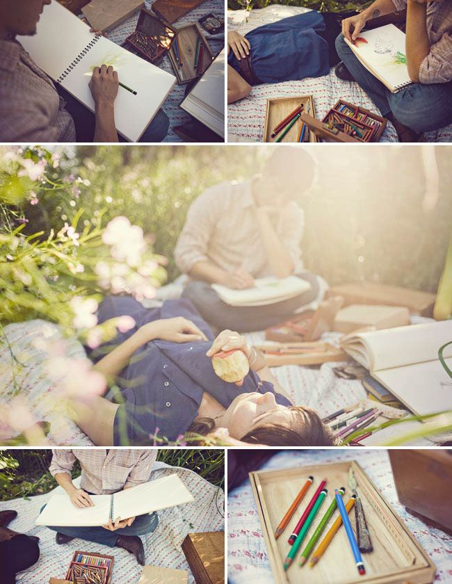 Two Artists in Love engagement shoot from Green Wedding Shoes
