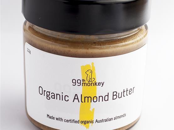 99th Monkey - Organic almond butter. Made with 100% certified organic Australian almonds. #FarmhouseAU #99thMonkey #almondbutter #organic #almonds #Australian