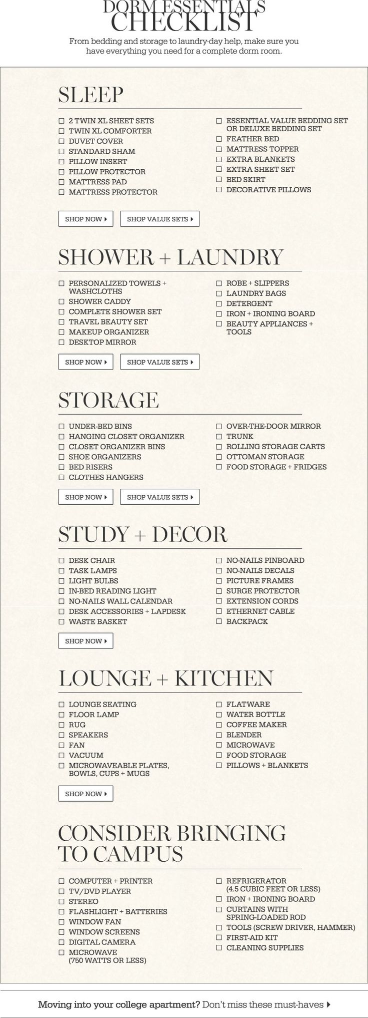 Dorm Essentials Checklist
