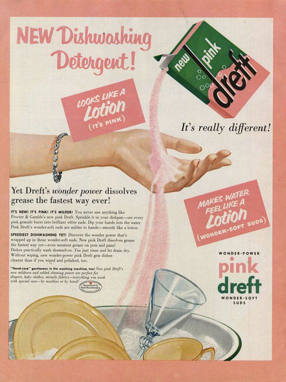 Pink Dreft Laundry Soap Vintage Advertisement ~ Laundry Room Wall Art Decor  Original, 1950s print ad featuring an illustration of Drefts new pink
