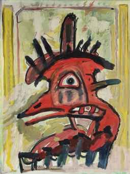 "lucebert/""a head, acrylic/canvas 79x60 cm (1987)"