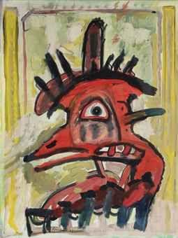 """lucebert/""""a head, acrylic/canvas 79x60 cm (1987)"""