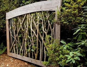 Fence/gate with wood frame and twigs/branches. Ashbee Design: January 2012