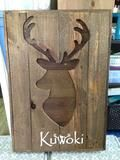 Pallet Wood Deer Silhouette Wall Hanging -Rustic Country Recycled Stained Hunting Trophy Sign - Rustic Restyle