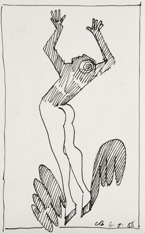 Charles Blackman 'Leaping High (From the Ballet Series)' - ink on paper