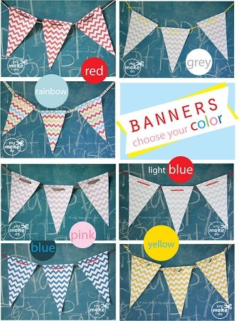 chevron banner printables available in many lovely colors