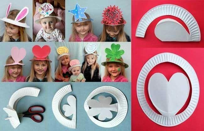 Sombreros hechos con un plato de papel                                                                                                                                                     Más