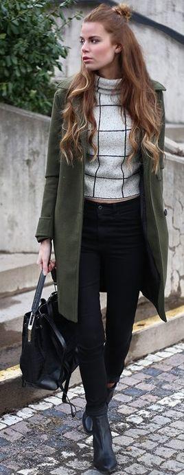 Josefin Ekstrom Grid Print Turtleneck Khaki Green Coat Fall Street Style Inspo #Fashionistas