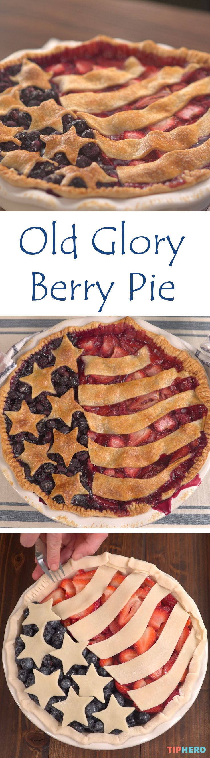 This tasty Old Glory Berry Pie pie is sure to be a hit at your Fourth of July celebration. Made with fresh blueberries and strawberries,  it just doesn't get more all-American— or more delicious! Watch how surprisingly simple this pie is to make, then give it a try this Independence Day for the most patriotic dessert yet. Click for the recipe and video.   #yum #desserts #holidayrecipes #homecooking #baking #delish
