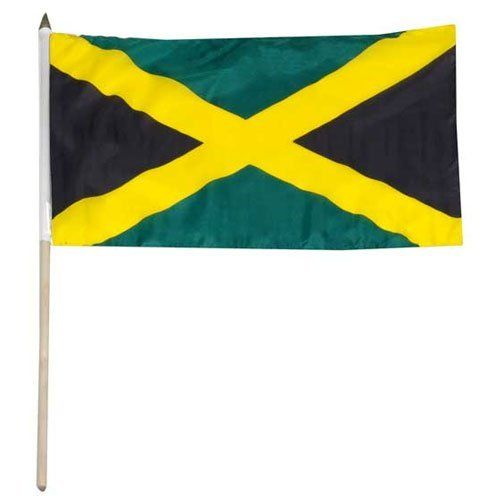 """Jamaica Flag 12 x 18 inch by US Flag Store. Save 31 Off!. $2.20. Mounted to a 24"""" Wooden Stick. Low Cost Shipping Available!. International 12in x 18in Stick Flag. Sewn Edges. Brilliant Colors Printed on Polyester Fabric. Jamaica stick flag 12 x 18 inch, mounted on a 24 inch wooden stick. Flag is made from polyester and printed in bright colors to make an attractive flag. Each flag is individually sewn around the edges."""