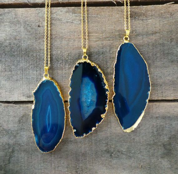 These deep blue sliced agate necklaces.   17 Seriously Gorgeous Pieces Of Gemstone Jewelry