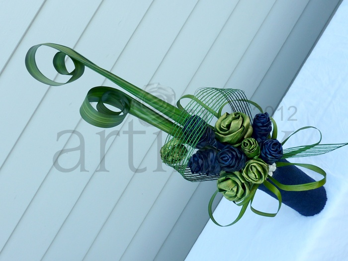 Artiflax - corporate / wedding centrepiece, green and blue flax flowers