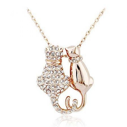 The European jewelry personalized full diamond necklace cat cute couple cat Necklace -.