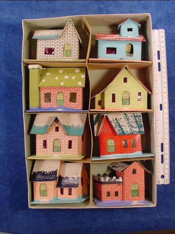 "History of cardboard ""putz"" houses  1928 Made in Japan cardboard Christmas   houses boxed set"