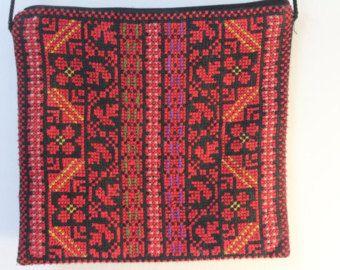 Red Embroidered Chiffon Shawl Handmade Traditional by Shaymas