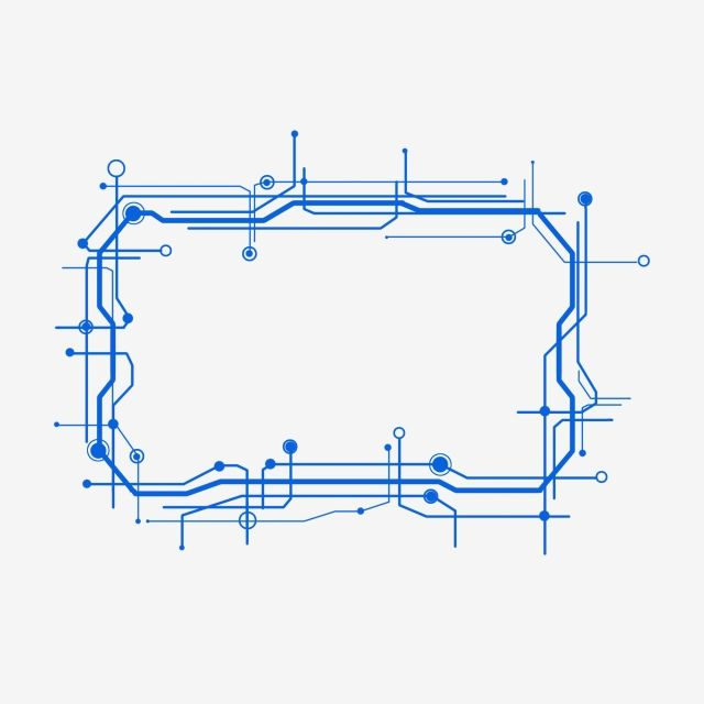Material Irregular Blue Rectangle Line Science Blue Rectangle Line Sci Fi Technology Dialog Box Border Shading Fiction Te Sci Fi Technology Creative Background
