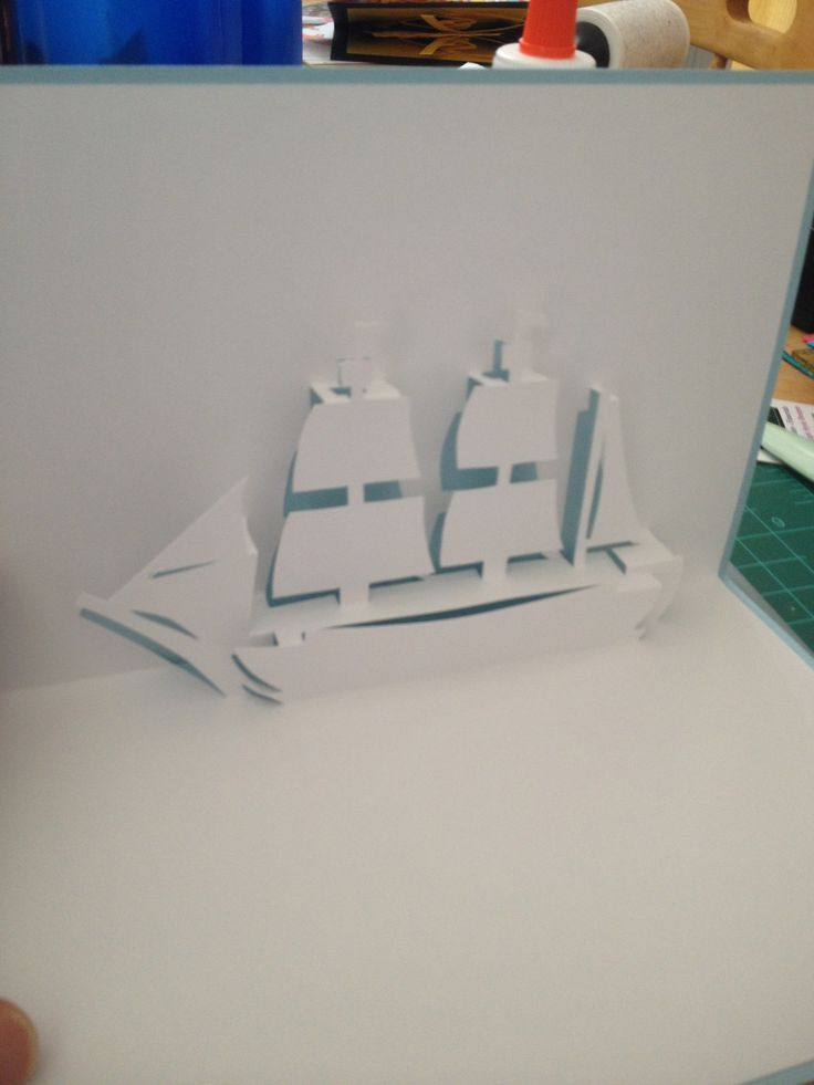 """Sailing ship 2 pop-up (Template from """"Cartes pop-up en kirigami - Architecture en origami"""")"""
