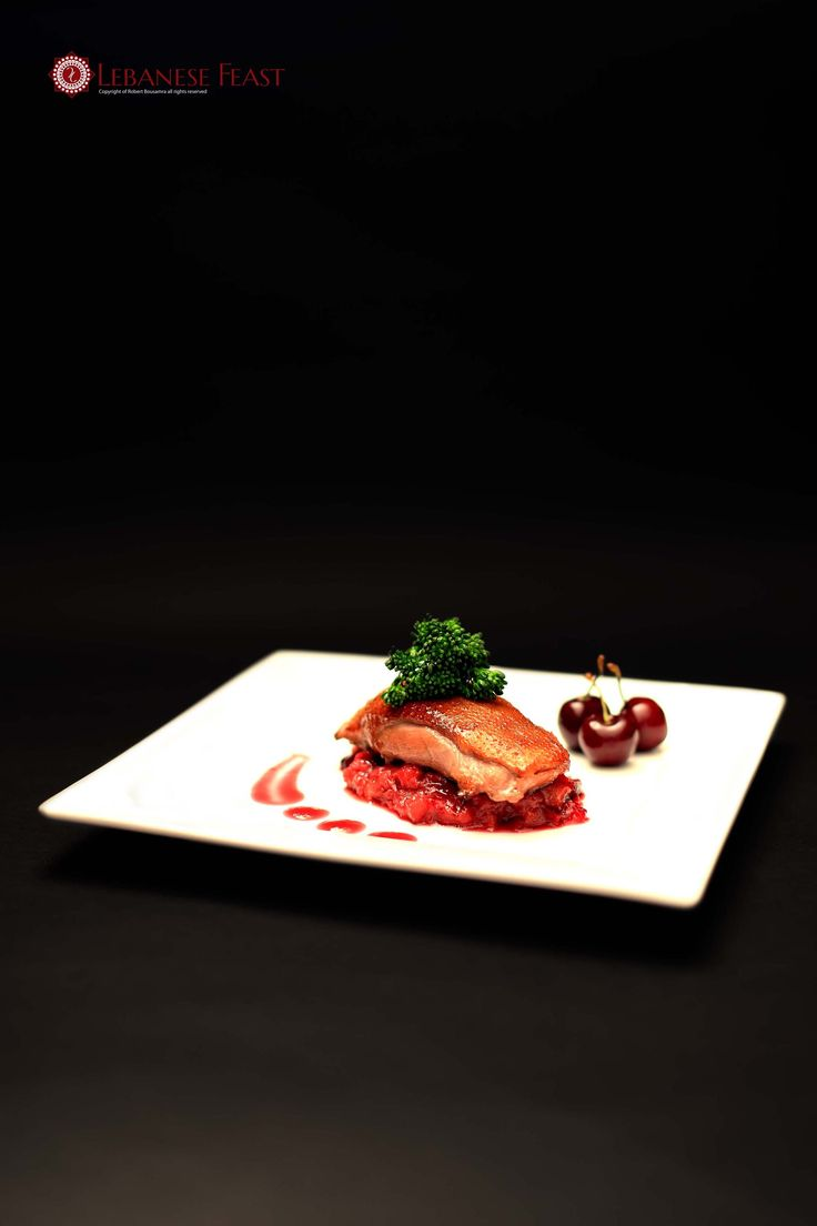 Smoked Duck Breast with Rhubarb and cherry compote served with cherry sauce