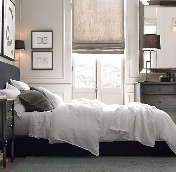 RH Garment-Dyed Textured Linen Bedding Collection - duvet and shams in ivory to go with striped PCH blanket for primary bedding set
