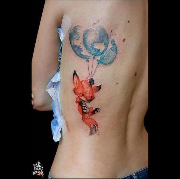 Tatouage Renard Aquarelle Tatoo Fox Watercolor Tatouage
