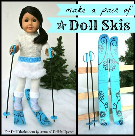 How to make doll skis. @Susan Pratt, here is another duck tape craft for you. :)