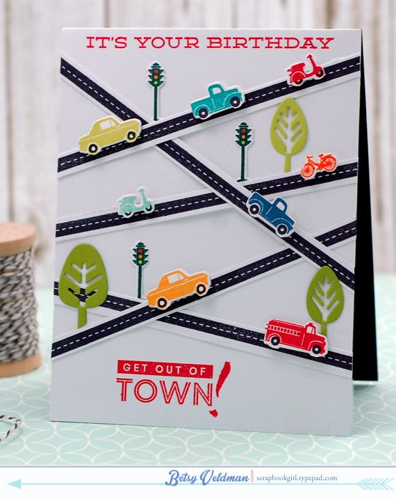 Card by Betsy Veldman (071115) [Papertrey Ink (dies) Petite Places: City Station, Petite Places: Main Street, Petite Places: Pop Up Trees, Petite Places: Sweet Shoppe; (stamps) Get Lost, Good Times, Petite Places: City Station, Petite Places: Main Street, Petite Places: Sweet Shoppe, Plaid Builder, Wet Paint Alphabet]