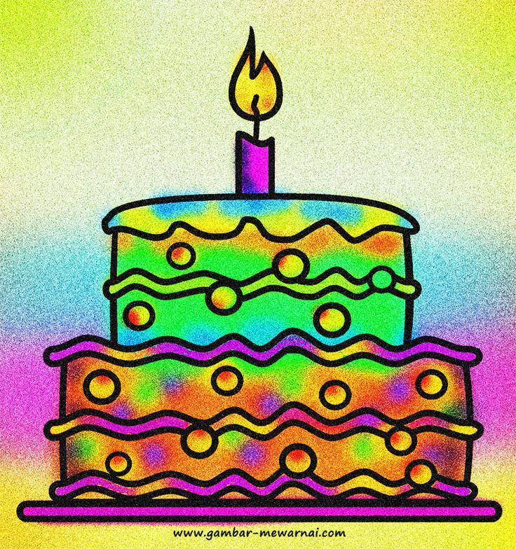 Contoh Mewarnai Gambar Kue Ulang Tahun