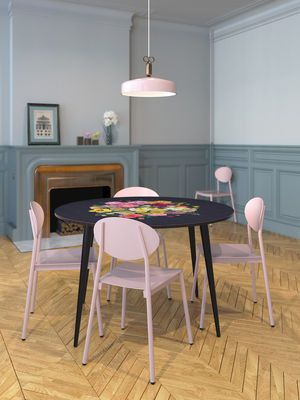 Pink and flowers for this fresh dining area   Royal Bouquet Table -Black and Multicolored flowers by BAZAR THERAPY