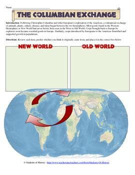 Columbian exchange worksheet middle school