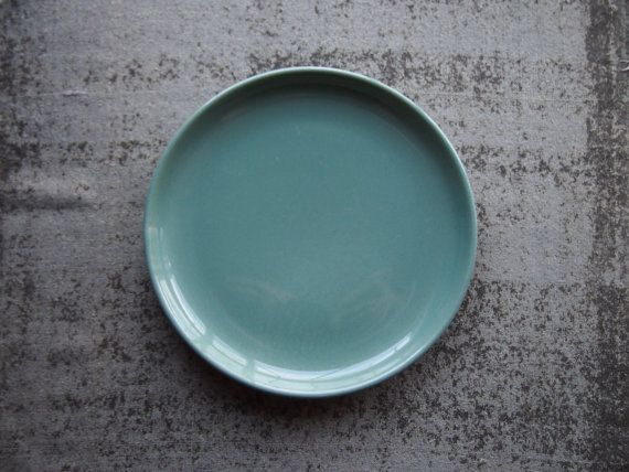 We had these colour plates in Japan with dark wooden chopstick! nice combo :) Sea green plate natural earthy Octavi England UK vintage by Octavi, £5.00