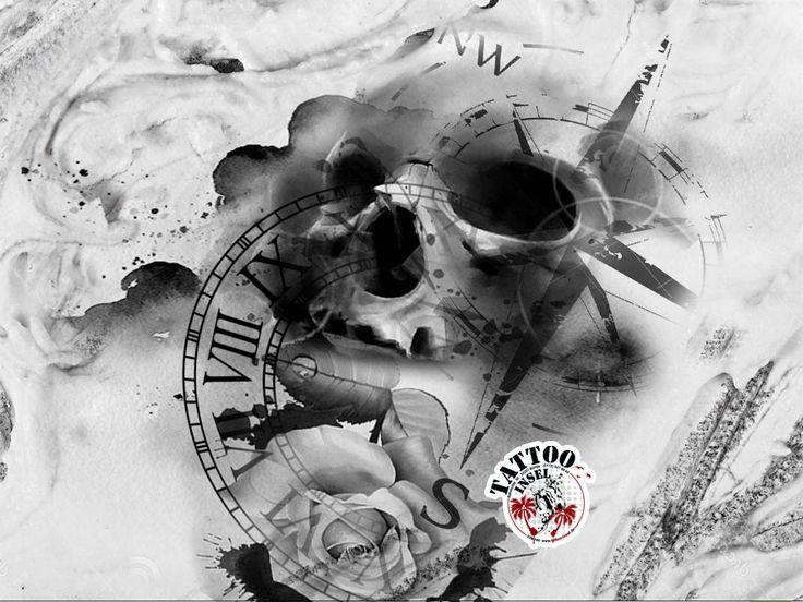 kompass uhr skull tattoo