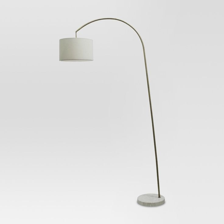 shaded arc floor lamp with marble base brass includes cfl bulb project
