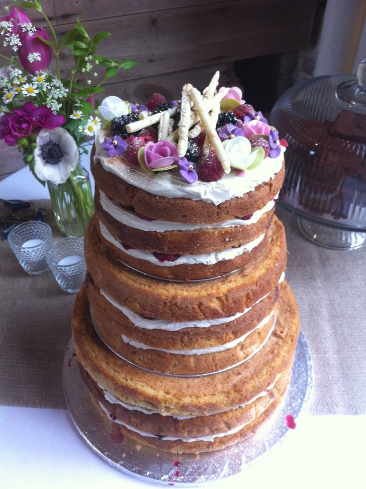 lavender victoria in three layers with buttercream and home made rhubarb jam - treacle&co
