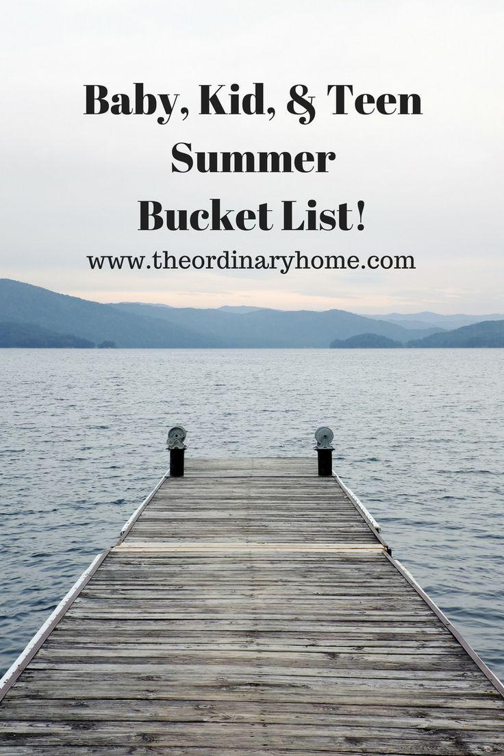baby, infant, kid, teen summer bucket list and activities