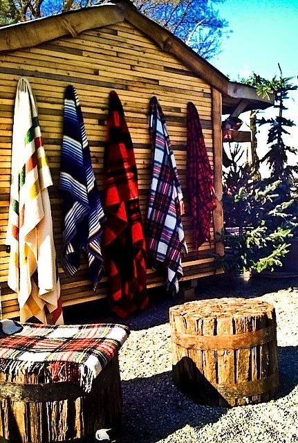 R U S T I C comfort ~ Pendelton blankets by the fire pit!