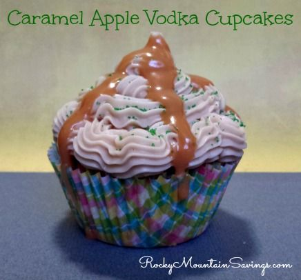 Caramel Apple Vodka Cupcakes #vodka #cupcakes http://www.rockymountainsavings.com