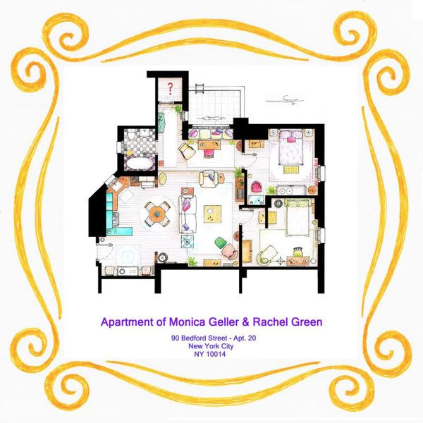 Spanish artist and interior designer Iñaki Aliste Lizarralde draws these famous house and apartment floor plans as a hobby, giving the TV viewer a new perspective on the homes in which our cherished characters reside. This is Monica & Rachel's apartment floor plan from Friends.