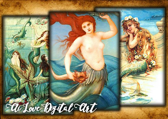 Digital collage sheet Vintage Mermaid instant download card